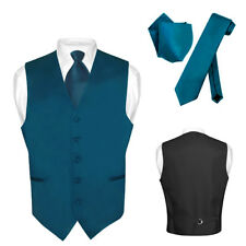 Men's Dress Vest NeckTie BLUE SAPPHIRE Neck Tie Set for Suit or Tuxedo