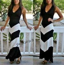 BLACK WHITE CHEVRON STRIPED BOHEMIAN TIE HALTER LONG MAXI TUBE DRESS BOHO S M L