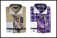 New Avanti Uomo Checks White Collar French Cuffs Dress Shirt,Tie, Beige Purple