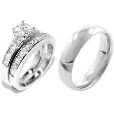 3 PCS All Stainless Steel His/Her Engagement/Wedding Matching Band Rings Set