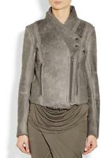 Helmut Lang Weathered Leather Shearling Fur Lined Jacket Coat Mute Grey $1850