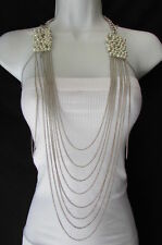 New women metal body chain necklace gold silver imitation pearls beads shoulders