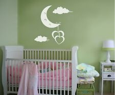 Vinyl Wall Decal Sticker Hearts Hanging from Moon 1091B 60W x 60H