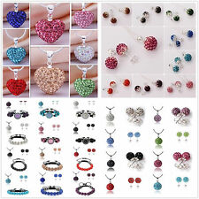 Wholesale Jewelry Crystal 10mm Disco Balls Silver Necklace Earrings sets TG925