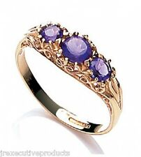 Beautiful 9ct Yellow Gold Amethyst Trilogy Ring