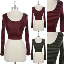 Striped Cross Back Cropped Top Long Sleeve Round Neck Sexy Stylish Unique S M L