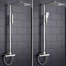 Exposed Bar Mixer Thermostatic Bathroom Shower Chrome Hand Held Head