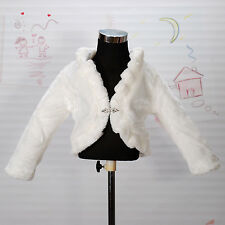 New Faux Fur Long Sleeves Coat Bolero in Ivory,Pink from 2 Year to 8 Years