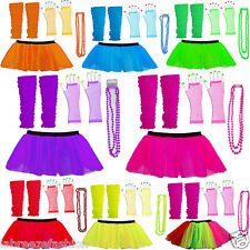 NEON UV FANCY DRESS HEN PARTY COSTUME 8 TUTU GLOVES LEG WARMERS AND BEADS 1980S