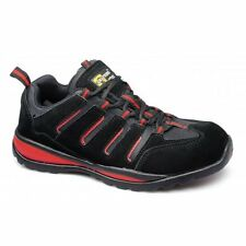 Grafters Mens Womens Ladies Suede Leather Steel Toe Safety Trainers Black/Red