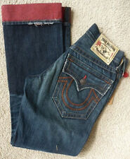 NWT True religion mens Ricky Reverse dye red straight leg jeans in AQRD Red