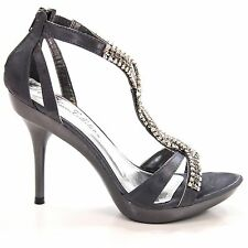 Sanyo54 Pewter Satin Rhinestone Encrusted Strappy Open Toe Formal Dress Sandal