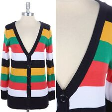 Multi Color Striped V Neck Button Down Knit Cardigan Long Sleeve Casual S M L