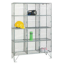 Wire Mesh Locker With 12 Compartments Shelving Industrial Storage 1360h x 915w