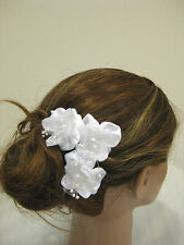 3pc White Satin Pearl Flower Bridal Wedding Hair Bobby Pins Clips No Slip Grip