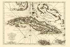 Old Caribbean Map - Cuba, Gulf of Florida, and Bahama Islands 1762 - 23 x 33.96
