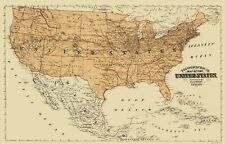 Old North America Map - United States, Mexico, Canada - Andreas 1873 - 23 x 35