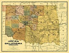 OKLAHOMA AND INDIAN TERRITORIES (OK) BY RAND MCNALLY & CO. 1894
