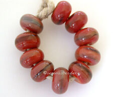 10 BLOODY MARY red streaky * donut handmade lampwork glass spacer beads sra