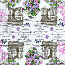 LOT DE 2 OU 3 SERVIETTES EN PAPIER FRANCE PARIS NOSTALGIE ARC TRIOMPHE FLEURS