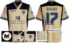 *13 / 14 - MACRON ; LEEDS UTD AWAY SHIRT SS + ARM PATCHES / BROWN 17 = SIZE*