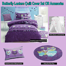 BUTTERFLY LANTERN Purple - Quilt Cover Set, Cushion, Floor Rug, Canopy - S D Q