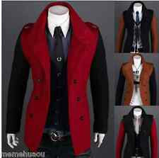 New winter men's casual jacket double-breasted coat hit the color design
