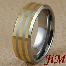 8MM Tungsten Carbide Mens Ring 14K Gold Wedding Band Brushed Jewelry Size 6-15