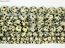 Natural Dalmation Jasper Gemstone Faceted Round Beads 15'' 4mm 6mm 8mm 10mm 12mm