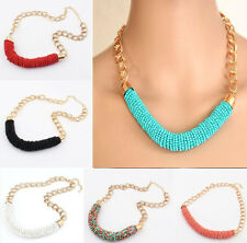 Multicolor beads handmade Party RiceShape Bib Choker Necklace Pendant Ladies