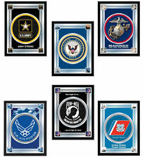 "Choose Your Military Service Branch 17 x 22"" Framed Litho Color Logo Wall Mirror"