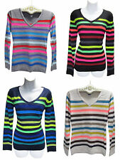 $30 POOF Made With Love Multi-Color Rainbow Bright Neon Stripe Knit Sweater New