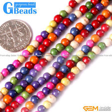 """Multi-Color Howlite Turquoise Gemstone Round Beads For Jewelry Making 15"""" 4-14mm"""
