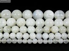 Natural White Moonstone Gemstone Round Beads 15.5'' 4mm 6mm 8mm 10mm 12mm 14mm