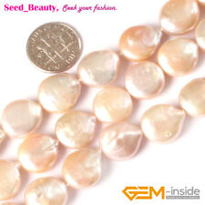 "Coin White Black Pink Grey Fresh Water Pearl Gemstone Loose Beads 15"" 12/14/16mm"