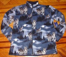 POLAR FLEECE JACKET WOLF WOLVES TREES FOREST MOUNTAINS WARM SOFT THERMAL NEW