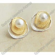 Fashion Pair Silver Gold Plated Imitate White Pearl Shells Stud Earrings