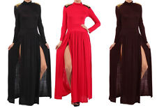 EVENT PUNK Doublt Slit Spiked Shoulder Long Sleeve Turtle Neck PARTY Dress SML