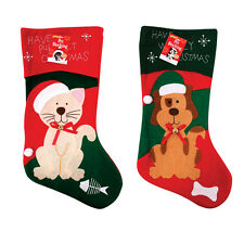 DOG OR CAT PET SOFT FELT CHRISTMAS XMAS STOCKING