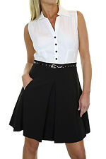 NEW (3975) 60's Skater Style Dress Pleated Skirt With Belt Black and Cream 8-18