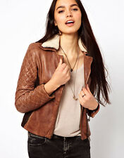 NWT Doma Leather Biker Jacket with Shearling Collar and Quilted Sleeves