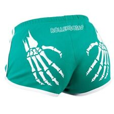 Green and White Rollerbones Booty Shorts - Roller Derby Skate Shorts Small - XL
