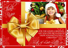 10 Personalised Christmas Greeting Thank You Cards Gold Bow Red Photo Present