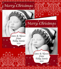 10 Personalised Christmas Greeting Cards Thank You Photo Red Snowflakes Sparkles