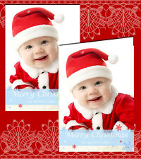 10 Personalised Christmas Greeting Cards Thank You Notes Message YOUR OWN PHOTO