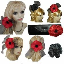 Poppy Alice band - Hairband Spanish Fancy Dress Hair Accessory - Brooch 3 in 1
