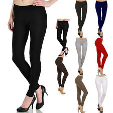 Womens THICK Plain Soild Leggings Ankle Length Skinny Stretch High Quality S M L