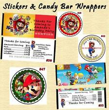 Super Mario Brothers Birthday Stickers Round 1 Sheet Candy Bar Wrappers Perszed
