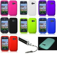 Samsung Galaxy Centura S738C Soft Silicone Skin Phone Case Cover Case+Stylus Pen
