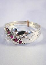 Silver 925 Sterling & Ruby Turkish 4 Band Interlocking Puzzle Ring 5 Accent Gems